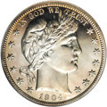 """Proof Barber Half Dollars: , 1904 50C PR66 Cameo NGC. In his Complete Guide to BarberHalves, David Lawrence wrote that: """" ... proofs are aboutseve..."""