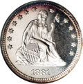 Proof Seated Quarters: , 1881 25C PR68 Cameo NGC. Briggs 2-B. Both 8s are recut within theloops, and there are a pair of short die scratches (as pr...
