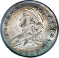 Bust Half Dollars: , 1810 50C MS62 PCGS. O-105, R.2. Most readily attributed by line 1of stripe 6 that extends up across six crossbars. What i...