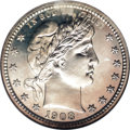 Proof Barber Quarters: , 1908 25C PR67 NGC. Only the slightest cast of gold is visible over the silver-white surfaces of this exemplary, brilliant S...