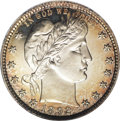 Proof Barber Quarters: , 1892 25C PR66 Cameo PCGS. Type Two Reverse. Lightly toned with attractive peripheral gold toning on both sides. This is a w...