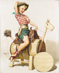 Paintings, GIL ELVGREN (American 1914 - 1980) . Sitting Pretty (Lola), 1955 . Oil on canvas . 31 x 24-1/2in. . Signed lower left . ...