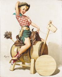 GIL ELVGREN (American 1914 - 1980) Sitting Pretty (Lola), 1955 Oil on canvas 31 x 24-1/2in. Signed lower left