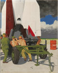Illustration:Books, MEL HUNTER (American 1927 - 2004) . Positioning the Rocket,1957 . Acrylic on board . 20 x 16in. . Signed lower left...