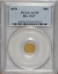 California Fractional Gold: , 1870 50C Goofy Head Round 50 Cents, BG-1047, High R.4, AU55 PCGS.The gargantuan chin and nose on Miss Liberty make the gro...