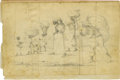 "Military & Patriotic:Civil War, Original Pencil Sketch of Slaves Fleeing the Battle at Petersburg, on paper, 8"" x 5"", tipped on to a folded sheet of paper, ..."