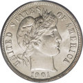 Barber Dimes: , 1901-O 10C MS65 PCGS. A satiny-white Gem, with excellent details that are nicely stamped onto milky-white surfaces. The sca...