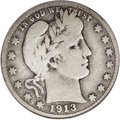 Barber Quarters: , 1913-S 25C VG10 PCGS. The 1913-S is one of the three keys to theBarber quarter series, and has its lowest mintage (40,000 ...