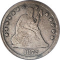 Seated Quarters: , 1872-S 25C Fine 12 PCGS. Although the 83,000 coin mintage of thisissue is higher than many other scarce S-Mint quarters fr...