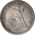 Seated Quarters: , 1867-S 25C VF35 PCGS. A pleasing circulated example of thisimportant date with smooth light gray surfaces that are accente...