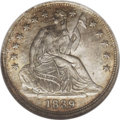Seated Half Dimes: , 1839 H10C No Drapery MS65 NGC. An immensely appealingrepresentative of this early Seated half dime, one with no draperyfl...