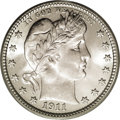 Barber Quarters: , 1911 25C MS66 PCGS. Surprisingly few high grade 1911 quarters werepreserved out of the mintage of 3.72 million pieces. Thi...