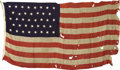 "Military & Patriotic:Civil War, 38-Star U. S. ""Grand Army of the Republic"" Flag Grand Army of the Republic 38 star flag, wool bunting 60"" x 124"", canvas hoi..."
