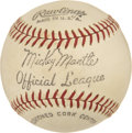 Baseball Collectibles:Others, Mickey Mantle Official League Unsigned Baseball.... (Total: 1cards)