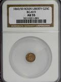 California Fractional Gold: , 1860/50 25C Liberty Round 25 Cents, BG-819, R.4, AU55 NGC. NGCCensus: (1/7). PCGS Population (10/60). (#10680). From T...