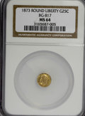 California Fractional Gold: , 1873 25C Liberty Round 25 Cents, BG-817, R.3, MS64 NGC. NGC Census:(8/8). PCGS Population (49/19). (#10678)...