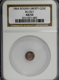 California Fractional Gold: , 1864 25C Liberty Round 25 Cents, BG-821, Low R.5, AU55 NGC. NGCCensus: (0/5). PCGS Population (8/26). (#10682). From T...
