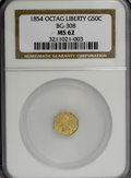 California Fractional Gold: , 1854 50C Liberty Octagonal 50 Cents, BG-308, R.4, MS62 NGC. NGCCensus: (5/3). PCGS Population (32/20). (#10428). From ...