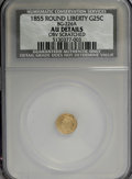 California Fractional Gold, 1855 25C Liberty Round 25 Cents, BG-226A, R.5,--ObverseScratched--NCS. AU Details. NGC Census: (0/4). PCGS Population(0/7...