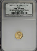 California Fractional Gold: , 1853 $1 Liberty Octagonal 1 Dollar, BG-519, Low R.4,--ImproperlyCleaned, Reverse Scratched--NCS. UNC Details. NGC Census: ...