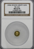 California Fractional Gold: , ND 25C Liberty Round 25 Cents, BG-224, R.3, MS62 Prooflike NGC.(#710409)...