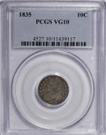 Bust Dimes: , 1835 10C VG10 PCGS. PCGS Population (8/381). NGC Census: (2/406).Mintage: 1,410,000. Numismedia Wsl. Price for NGC/PCGS co...