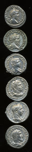Ancients:Ancient Lots  , Ancients: Lot of six Roman Imperial AR denarii.... (Total: 6 coins)