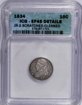 Bust Dimes: , 1834 10C Small 4--Cleaned, Scratched--ICG. XF45 Details. JR-2. NGCCensus: (5/214). PCGS Population (9/147). Mintage: 635,...