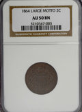 Two Cent Pieces: , 1864 2C Large Motto AU50 NGC. NGC Census: (6/1163). PCGS Population(32/737). Mintage: 19,847,500. Numismedia Wsl. Price fo...