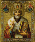 Fine Art - Painting, Russian, A RUSSIAN ICON OF SAINT NICHOLAS. 19th century. 21 x 17-1/2 inches(53.3 x 44.5 cm). ...