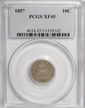Seated Dimes: , 1857 10C XF45 PCGS. PCGS Population (7/202). NGC Census: (5/248).Mintage: 5,580,000. Numismedia Wsl. Price for NGC/PCGS co...