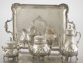 Silver Holloware, French:Holloware, A FRENCH SILVER FOUR-PIECE TEA SET AND TRAY. Ferry, Paris, France, circa 1870. Marks: (star), FERRY, (wheel), (Minerva h... (Total: 5 Items Items)