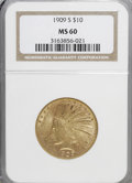 Indian Eagles: , 1909-S $10 MS60 NGC. NGC Census: (11/165). PCGS Population (8/184).Mintage: 292,350. Numismedia Wsl. Price for NGC/PCGS co...