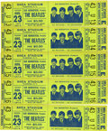 Music Memorabilia:Tickets, Beatles Shea Stadium Concert Tickets Signed by Sid Bernstein....(Total: 5 Items)