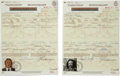Music Memorabilia:Autographs and Signed Items, Stephen Stills and David Crosby Signed Immigration Papers....(Total: 2 Items)