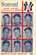Autographs:Others, 1964 Mickey Mantle and Bobby Richardson Dual-Signed OfficialProgram....