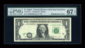 Error Notes:Shifted Third Printing, Fr. 1916-L $1 1988A Federal Reserve Note. PMG Superb Gem Unc 67 EPQ.. ...