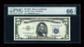 Small Size:Silver Certificates, Fr. 1655 $5 1953 Silver Certificate. Low Serial Number 12. PMG Gem Uncirculated 66 EPQ.. ...