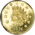 California Fractional Gold, 1876/5 $1 Indian Octagonal 1 Dollar, BG-1129, R.4 MS65 Deep MirrorProoflike NGC....