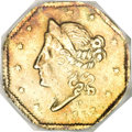 California Fractional Gold, 1853 50C Peacock Reverse 50 Cents, BG-303, Low R.7, AU58 NGC....
