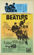 Music Memorabilia:Posters, The Beatles A Hard Day's Night Window Card Poster andDie-Cut Ticket (United Artists, 1964).... (Total: 2 Items)