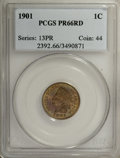 Proof Indian Cents: , 1901 1C PR66 Red PCGS. A radiant Gem proof that displays lovely yellow-gold, rose-violet, and yellow-green coloration. Sha...