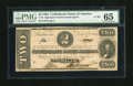 Confederate Notes:1862 Issues, T54 $2 1862. This note is fully framed by its margins. PMG GemUncirculated 65....