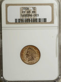 Proof Indian Cents: , 1908 1C PR65 Red NGC. A lustrous example of this lowest-mintage proof emission of late in the series, with tan-gold surface...