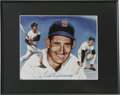 "Autographs:Post Cards, Ted Williams Signed Photograph. Artist rendition 8x10"" color photo produced by artist, Doug West. Blue sharpie signature. F..."