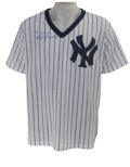 Autographs:Jerseys, Billy Martin Signed Jersey. Fine New York Yankees replica pinstripepullover dons the tough signature of the unpredictable ...