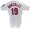Baseball Collectibles:Uniforms, 1996 Juan Gonzalez Game Worn Jersey. The year he muscled his Texas Rangers to its first division title in franchise history...