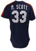 Baseball Collectibles:Uniforms, 1980s Mike Scott Batting Practice Worn Jersey. The three-timeAll-Star Mike Scott earned Cy Young honors in 1986, lifting h...