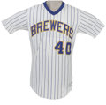 Baseball Collectibles:Uniforms, 1985 Bob Gibson Game Worn Jersey. In what was his most productive year on the mound for his Milwaukee Brewers, Bob Gibson (...
