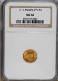 Commemorative Gold: , 1916 G$1 McKinley MS66 NGC. NGC Census: (309/50). PCGS Population(568/55). Mintage: 9,977. Numismedia Wsl. Price for NGC/P...